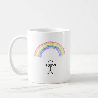 Hand drawn stick man under a rainbow mug