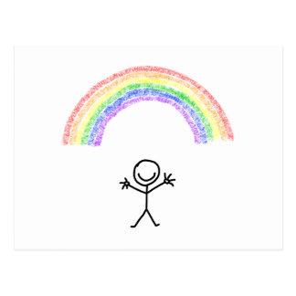 Hand drawn stick man under a rainbow postcard