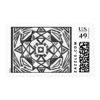 Hand Drawn Symmetrical Postage Stamp