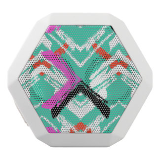 Hand Drawn Teal Zig Zag Pattern White Boombot Rex Bluetooth Speaker