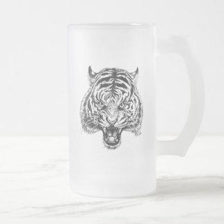 Hand Drawn Tiger Art Tall Beer Mug by Mei Yu