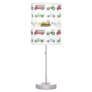 Hand drawn transportation pattern childs bedroom table lamp