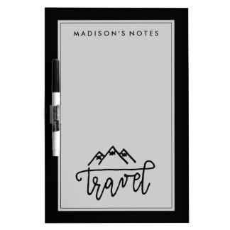 Hand Drawn Travel Text Dry-Erase Board