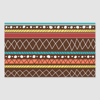 Hand Drawn Tribal Pattern Rectangle Stickers