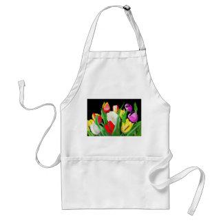 Hand drawn tulips adult apron