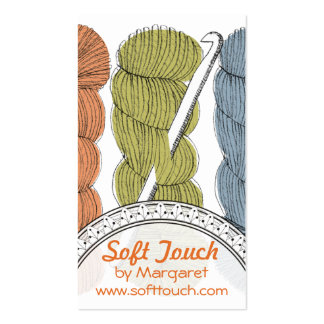 Hand drawn twisted yarn hank skein crochet hook business cards