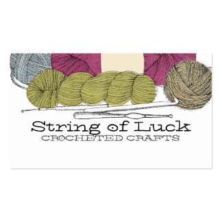 Hand drawn twisted yarn hank skein crochet hooks Double-Sided standard business cards (Pack of 100)