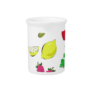 hand drawn vegetables and fruit drink pitchers