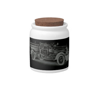 hand drawn vintage fire truck inverse candy dishes
