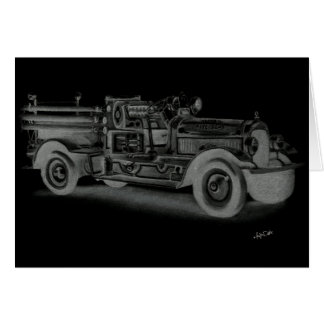 hand drawn vintage fire truck inverse greeting card