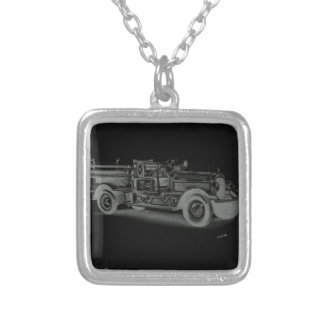 hand drawn vintage fire truck inverse jewelry