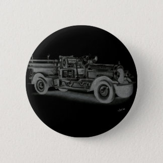 hand drawn vintage fire truck inverse pinback button