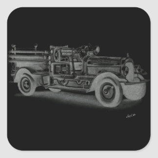 hand drawn vintage fire truck inverse square stickers