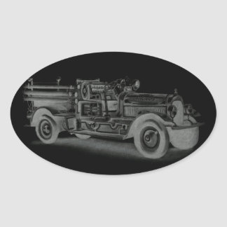hand drawn vintage fire truck inverse oval stickers