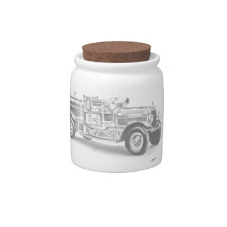 hand drawn vintage fire truck sketch candy jars