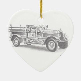 hand drawn vintage fire truck sketch ceramic ornament