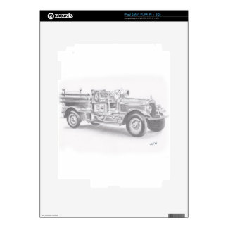 hand drawn vintage fire truck sketch decals for iPad 2
