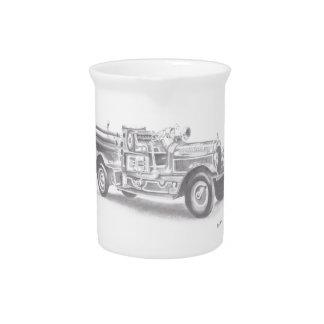 hand drawn vintage fire truck sketch pitchers