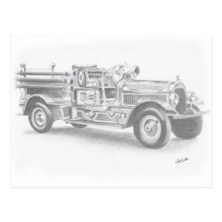 hand drawn vintage fire truck sketch postcard