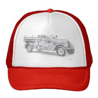 hand drawn vintage fire truck sketch trucker hat
