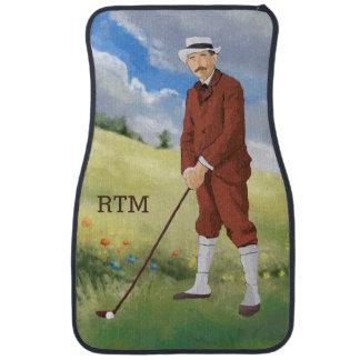 Hand drawn vintage golfer in the rough car floor mat