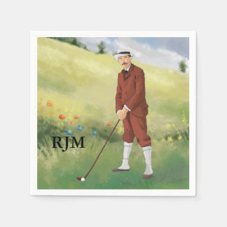 Hand drawn vintage golfer in the rough napkin