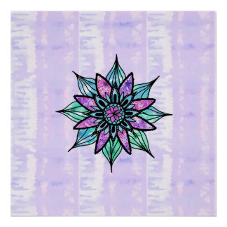 Hand Drawn Watercolor Flower on Purple Tie Dye Poster