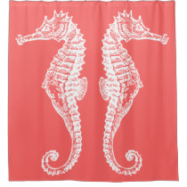 Hand Drawn White Seahorse Classy Coral Shower Curtain