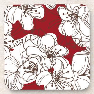 Hand Drawn White Wild Flowers on Red Beverage Coaster