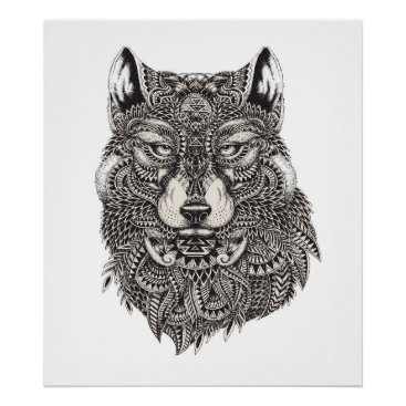 Professional Business Hand Drawn Wolf Poster