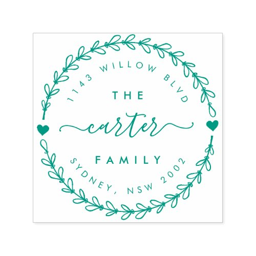Hand Drawn Wreath Family Name Return Address Self_inking Stamp