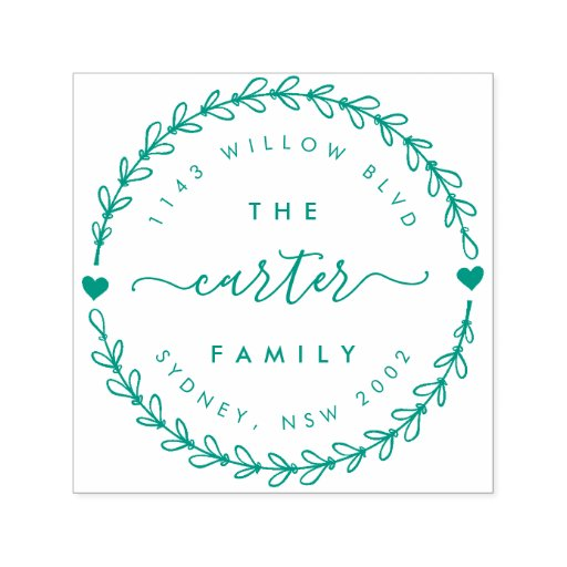 Hand Drawn Wreath Family Name Return Address Self-inking Stamp