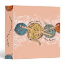 Hand drawn yarn knitting needles pattern binder