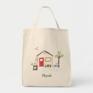 Hand-drawn Zakka Style Cafe with Bike and Cat Tote Bag