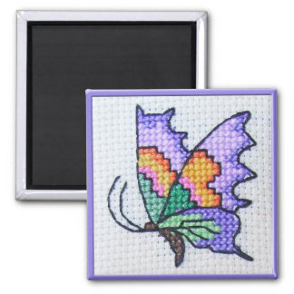 Hand embroidered bright butterfly magnet