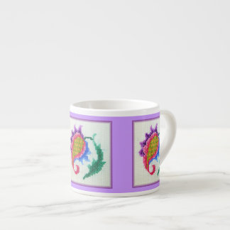 Hand embroidered bright flower 2 espresso cup