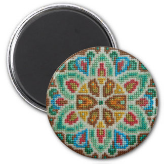 Hand embroidered bright flower 2 inch round magnet