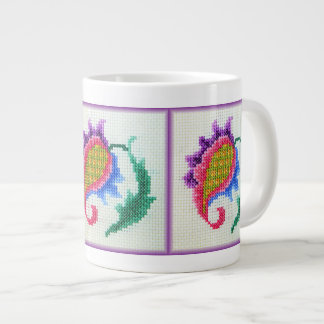 Hand embroidered bright flower 2 large coffee mug