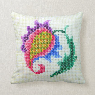 Hand embroidered bright flower 2 pillow