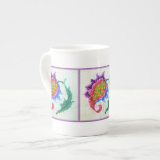 Hand embroidered bright flower 2 tea cup