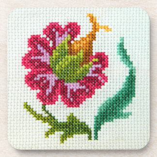 Hand embroidered bright flower 3 drink coaster