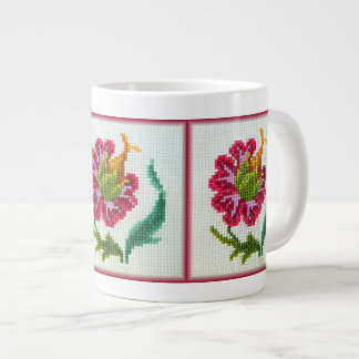 Hand embroidered bright flower 3 large coffee mug