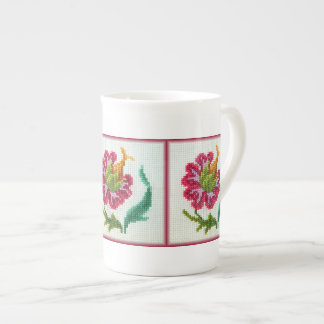 Hand embroidered bright flower 3 tea cup