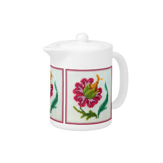 Hand embroidered bright flower 3 teapot