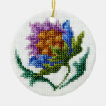 Hand embroidered bright flower christmas ornament