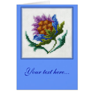 Hand embroidered bright flower customizable blank card