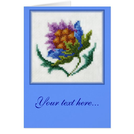 Hand embroidered bright flower customizable blank cards
