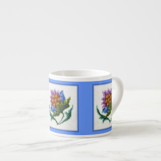 Hand embroidered bright flower espresso cup