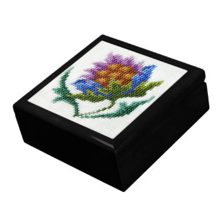 Hand embroidered bright flower gift box