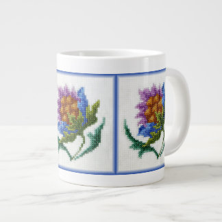 Hand embroidered bright flower large coffee mug